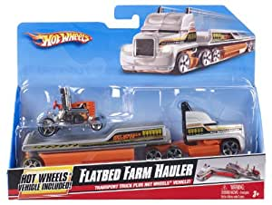 mattel r1073 hot wheels transporteur vehicule camion de remorquage de la ferme amazon. Black Bedroom Furniture Sets. Home Design Ideas