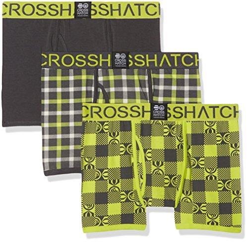 CrossHatch Herren Boxershorts Checkham, 3er Pack, Gelb (Forged Iron CS11), XL
