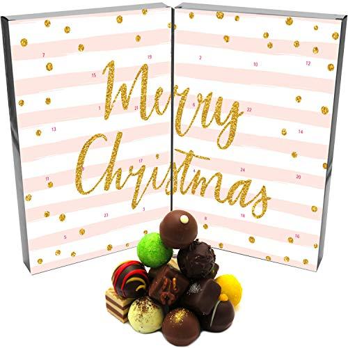 Hallingers 24 Pralinen-Adventskalender, ohne Alkohol (300g) - Rosa Weihnachten (Buch-Karton)