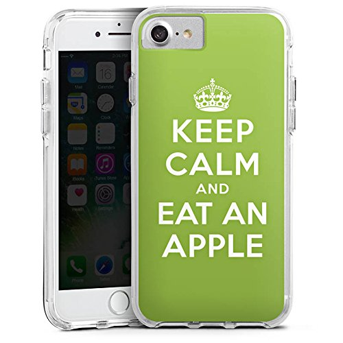 Apple iPhone 6s Plus Bumper Hülle Bumper Case Glitzer Hülle Keep Calm Apfel Statements Bumper Case transparent