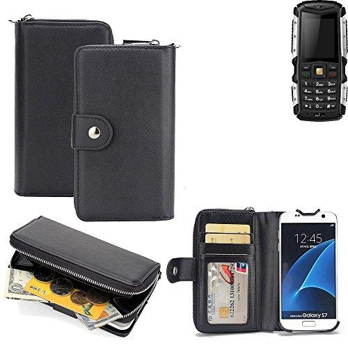 K-S-Trade 2in1 Handyhülle für Jiayu F2 hochwertige Schutzhülle & Portemonnee Tasche Handytasche Etui Geldbörse Wallet Case Hülle schwarz