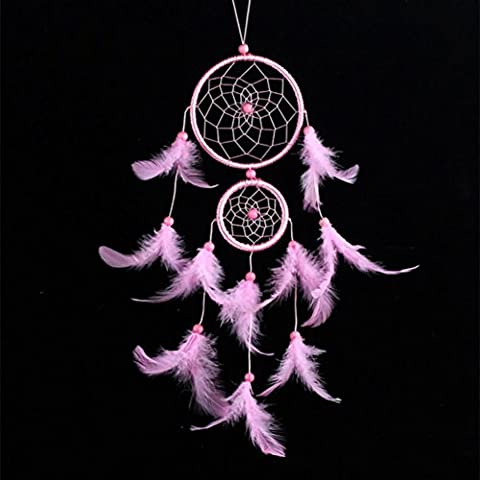 erthome Handmade Lace Dream Catcher Feather Bead Hanging Decoration Ornament Gift Bright Color (Pink)