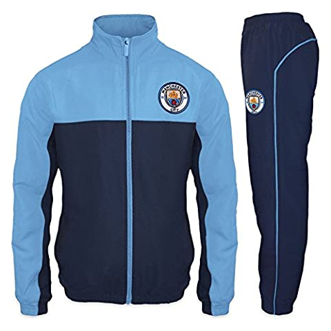 Manchester City FC - Herren Trainingsanzug - Jacke & Hose - Offizielles Merchandise - Geschenk für Fußballfans - Blau - (Mannschaft Locker)