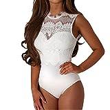 GWELL Damen Sexy Bodysuit Spitze Body Nachtwäsche Mieder Reizwäsche Babydoll Negligees Dessous Große Größen Weiß 5XL