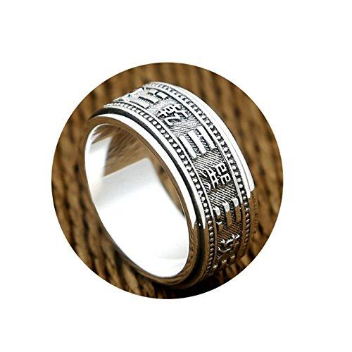 AnazoZ Schmuck 925 Sterling Silber Ringe Hochzeit Bands Herren Ring Circle Ring Silber Schwarz Ring Größe 63 (20.1)