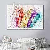 N / A Colore Piuma Pittura murale di Grandi Dimensioni Arte Tela Pittura Artista Decorazione della casa Pittura Senza Cornice
