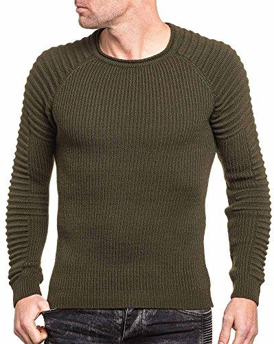 BLZ jeans - Pullover homme kaki slim nervuré Vert