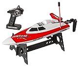 Top Race® Fernbedienung Wasser Geschwindigkeit Boot, Perfekt Spielzeug für Pools und Seen Red 49Mhz (TR-800B)