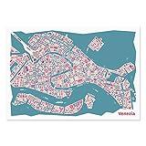 Venedig Poster - Stadtplan Plakat Kunstdruck bunt