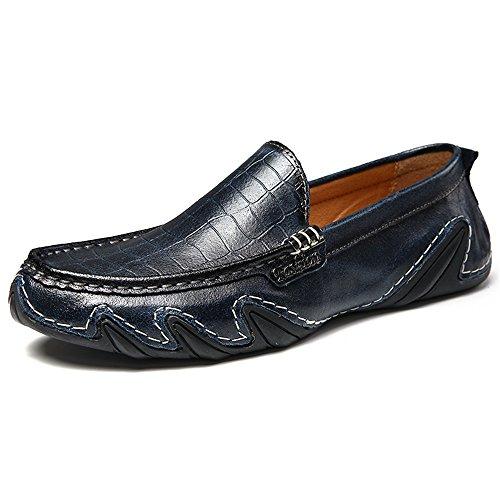 Mens Casual Loafers Herren Slip auf Mokassins Fahrschuhe Dunkelblau