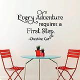 Dozili Wandtattoo Alice im Wunderland Grinsekatze mit Zitat Every Adventure Requires A First Step, 35,6 x 55,9 cm