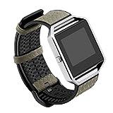 YuStar Ersatz-Armband für Fitbit Blaze Fitnesstracker, aus Echtleder und TPU, atmungsaktiv M grau