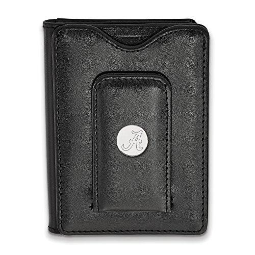 logoart Sterling Silber Universität Alabama schwarz Geldbörse Leder ss013ual-w1 (Alabama Schwarz Leder)