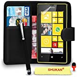 Nokia Lumia 520 Premium Leather Black Wallet Flip Case Cover Pouch + Big Touch Stylus Pen + RED 2 IN 1 Dust Stopper + Screen Protector & Polishing Cloth SVL2 BY SHUKAN®, (WALLET BLACK)