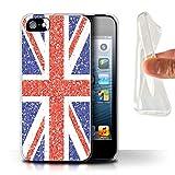 Stuff4 Coque Gel TPU de Coque pour Apple iPhone 5/5S / Union Jack Drapeau/Britannique...
