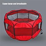 Rete Di Nylon Portatile Pieghevole A Otto Lati Recinzione Cane Tenda Impermeabile Zanzara Traspirante Cane Gatto Gabbia Recinzione Nero Blu Rosa,Red