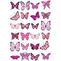 24 mariposas mixtas de color rosa para decorar tartas comestibles de 4 cm sobre papel de