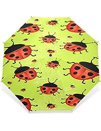 Enne paraguas plegable paraguas de viaje compacto de mariquita Beetle lluvia viento fácil llevar