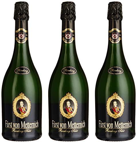 FÜRST VON METTERNICH Riesling Sekt Extra Trocken (3 x 0.75 l) ǁ exzellent & traditionell ǀ Premiumsekt aus edlen deutschen Weinen ǀ besondere Anlässe