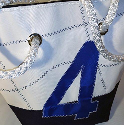 Memme: Borsa donna in vela riciclata e tessuto con manici in cima nautica bianca-blu-nera blu