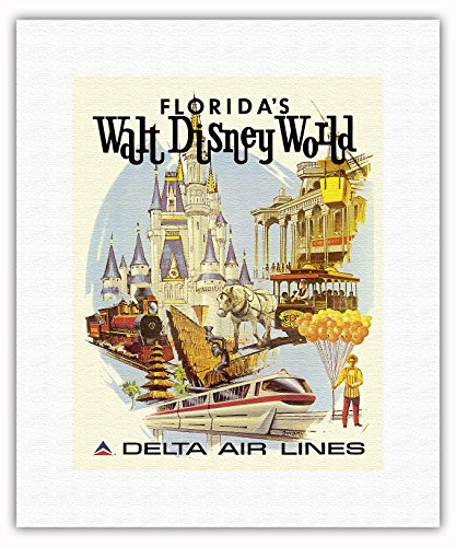 walt-disney-world-en-floride-premire-anne-de-fonctionnement-delta-air-lines-affiche-ancienne-vintage