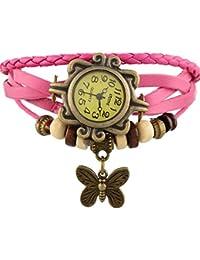 Meenakshi Handicraft Emporium Round Dial Analog Butterfly Watch For Women & Girls (Pink)