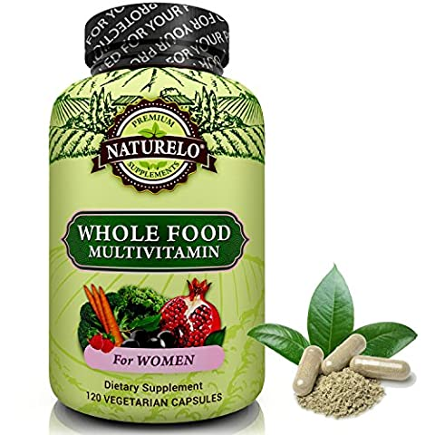 NATURELO Whole Food Multivitamin from Women - Top Ranked - Natural Vitamins, Minerals, Raw Organic Extracts - Best Supplement for Energy, Immune Support, Heart Health - Vegan - Non GMO - 120
