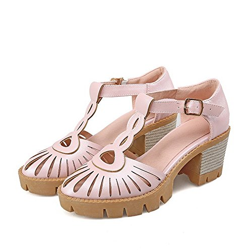 AllhqFashion Damen Schnalle Rund Zehe Hoher Absatz Rein Pumps Schuhe Pink