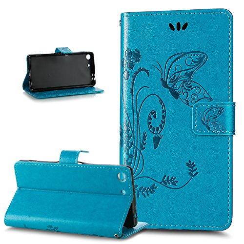ikasus Compatible avec Coque Sony Xperia M5 Etui,Motif Gaufrage Art Fleur Papillon Housse Cuir PU Etui Housse Portefeuille Protection supporter Flip Case Etui Housse Coque pour Sony Xperia M5,Bleu