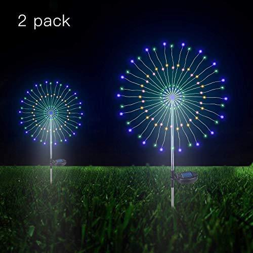 Solarleuchte Garten, 105 LED Solar Feuerwerk Licht, DIY Draussen Landschaft Licht Wetterfest Beleuchtung Dekoratives für Garten Rasen Feld Terrasse Weg (Regenbogen Bunt, 2 Pack)