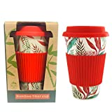 Eco Reusable Bamboo Fiber Travel Coffee Cup with Lid, Silicone Rubber Sleeve and Lid, Natural Organic Bmbu Mug, Daily Use BPA Free