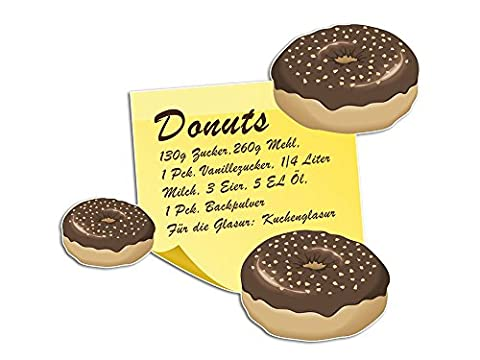 Wandsticker Sticker Aufkleber für Küche Rezept für Donuts Zutaten Gebäck (64x57cm)
