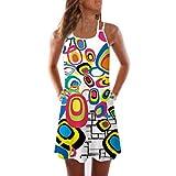 VEMOW Sommer Elegante Damen Frauen Lose Vintage Sleeveless 3D Blumendruck Bohe Casual Täglichen Party Strand Urlaub Tank Short Mini Kleid(Weiß 3, EU-38/CN-M)