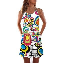 VEMOW Sommer Elegante Damen Frauen Lose Vintage Sleeveless 3D Blumendruck Bohe Casual Täglichen Party Strand Urlaub Tank Short Mini Kleid(Weiß 3, 44 DE / 2XL CN)