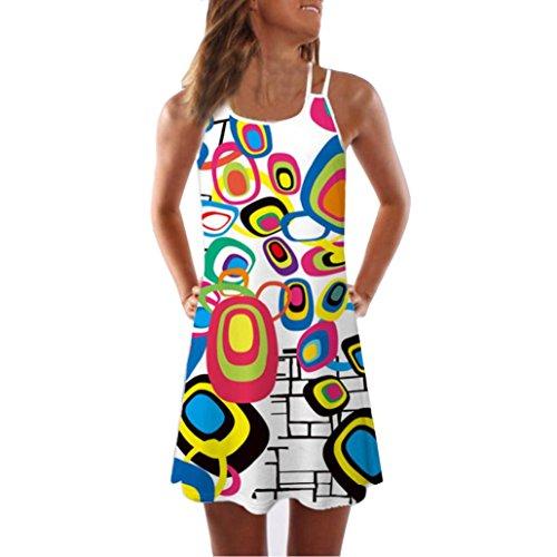 VEMOW Sommer Elegante Damen Frauen Lose Vintage Sleeveless 3D Blumendruck Bohe Casual Täglichen Party Strand Urlaub Tank Short Mini Kleid(Weiß 3, EU-38/CN-M) (Ballkleid Korsett Kleider)