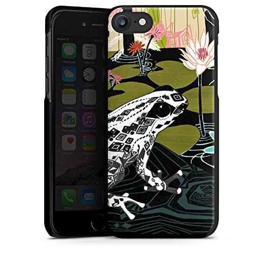 Apple iPhone 7 Hülle Case Handyhülle Frosch Seerose Blumen Hard Case schwarz