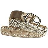 CASPAR Damen Gürtel / Hüftgürtel mit glitzernder Strass Kristall Nieten Teil Leder - viele Farben - GU260, Länge:85Farbe:antik gold
