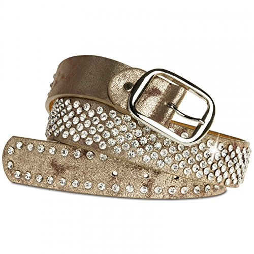 Caspar gu260 Donna Cintura Con Strass Studs Antique Gold 85