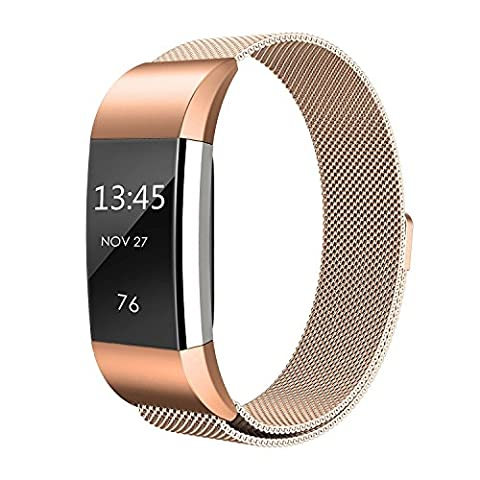 Replacement Milanese Loop Stainless Steel Watch Strap Wristband For Fitbit Charge 2 (Rose Gold)