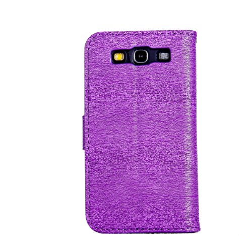 Felfy Coque Etui pour Samsung Galaxy S3,Galaxy S3 Neo Coque Dragonne Portefeuille PU Cuir Etui,Galaxy S3o Etui Cuir Folio Housse Rouge Tournesol 3D en Relief Motif Leather Case Wallet Flip Protective  Chat Violet