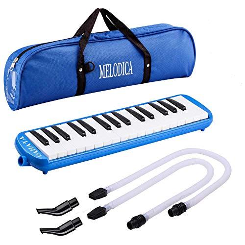 CAHAYA Melodica Musizieren Blasharmonika Melodika 32 Tasten Tonumfang f-c``` inkl. 2 Anblasschlauch und 2 Mundstück für Anfänger, Fortgeschrittene, Profis - Blau