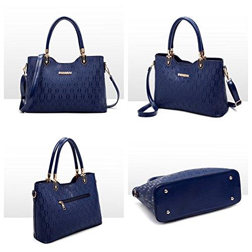 MATAGA Damenhandtasche Handtasche für Frauen Tote Modern Leder Schultertasche Umhängetasche Shopper Weich JHFXD958088 (Schwarz-Black) Schwarz-Black