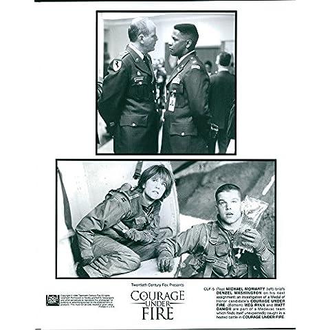 Vintage Foto de Michael Moriarty, DENZEL Washington, Meg Ryan y Matt Damon Estrella en Courage Under Fire.