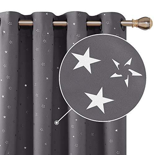 Deconovo Cortina Opaca Ojales Diseño Estrella Plateada