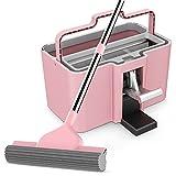 Ruotare Set di mop e Secchio/Mop in Spugna/Lavaggio a Mano/Tipo battistrada/Acciaio Inox/Asciugamani a Doppio Uso Bagnato e Asciutto (2 Colori opzionali) Scorrere (Colore : Pink)