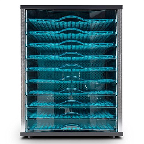 Klarstein Fruit Jerky Pro 10 - Déshydrateur, 800W de puissance, 10 larges étages, Surface de séchage de presque 1 m², Conservant les minéraux et vitamines, Noir