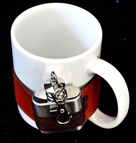 Tasse mit Flachmann, Teetasse mit Mini Edelstahl Flachmann, Kaffeetasse