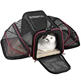 Texsens Haustier Tragetasche Katze Transportbox Faltbare Transporttasche atmungsaktiv Tasche Autobox Reisetasche mit Tragestreifen und Matratze für Kleine Hunde Welpen Katzen
