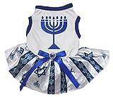 Petitebelle Hanukkah perro vestido tutú de candelabro Hexagram Azul Rayas de camisa blanca