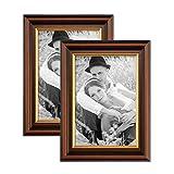 Photolini 2er Set Bilderrahmen 15x20 cm Antik Dunkelbraun mit Goldkante Massivholz mit Glasscheibe inkl. Zubehör